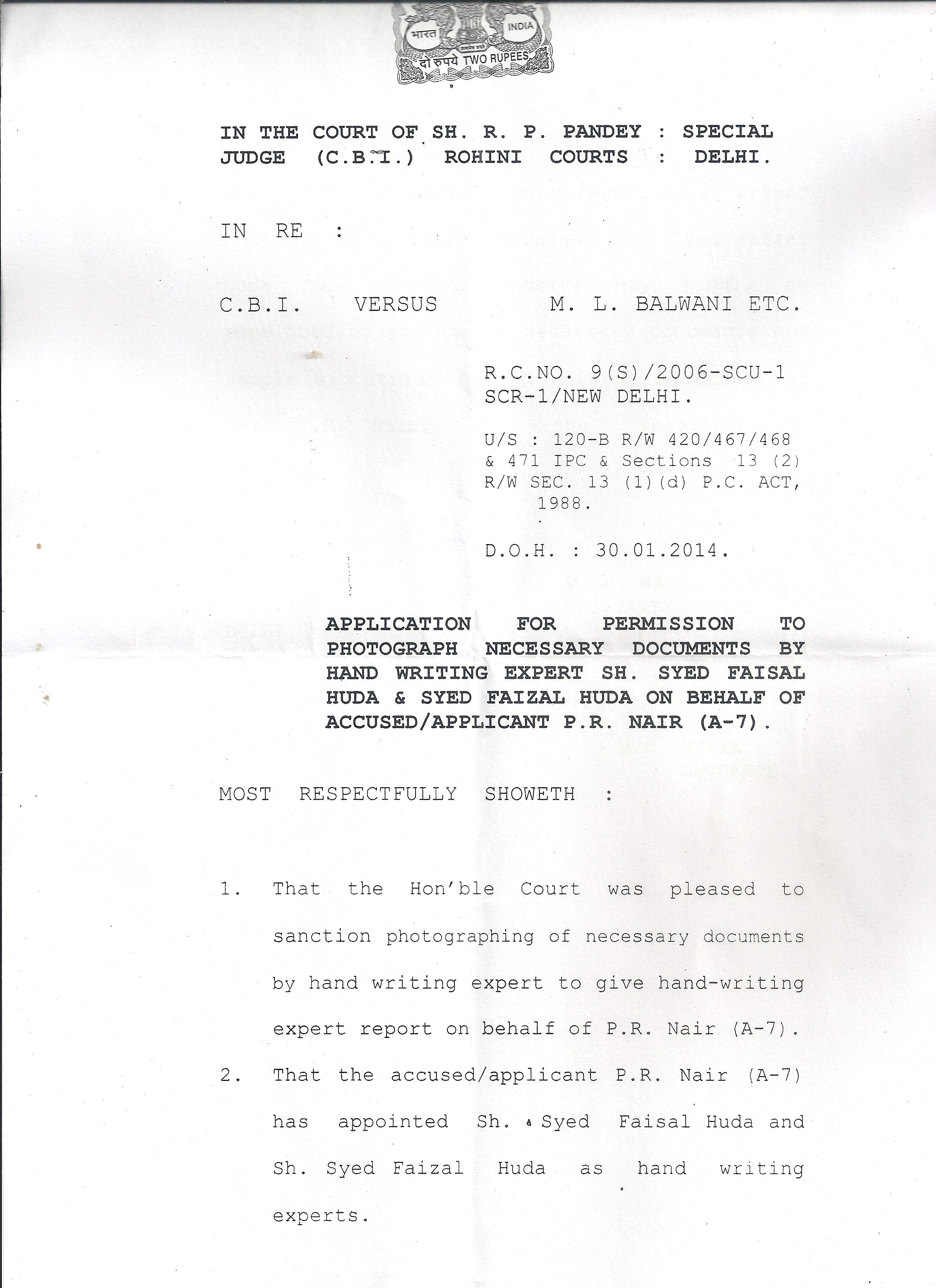 Application Format to appoint Handwriting Expert in Court – Application Format