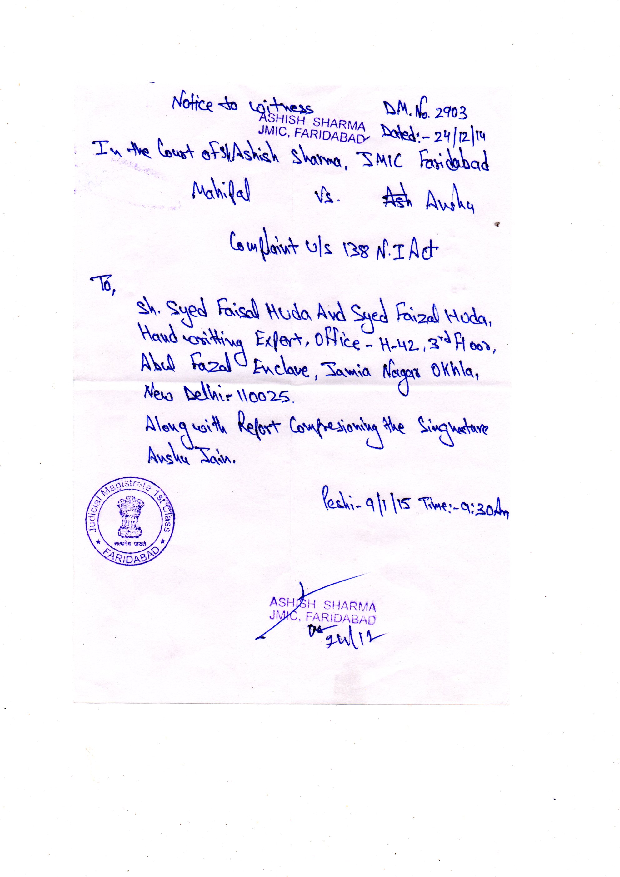 SUMMON 1 FROM THE COURT OF SH. ASHISH SHARMA(JMIC), FARIDABAD
