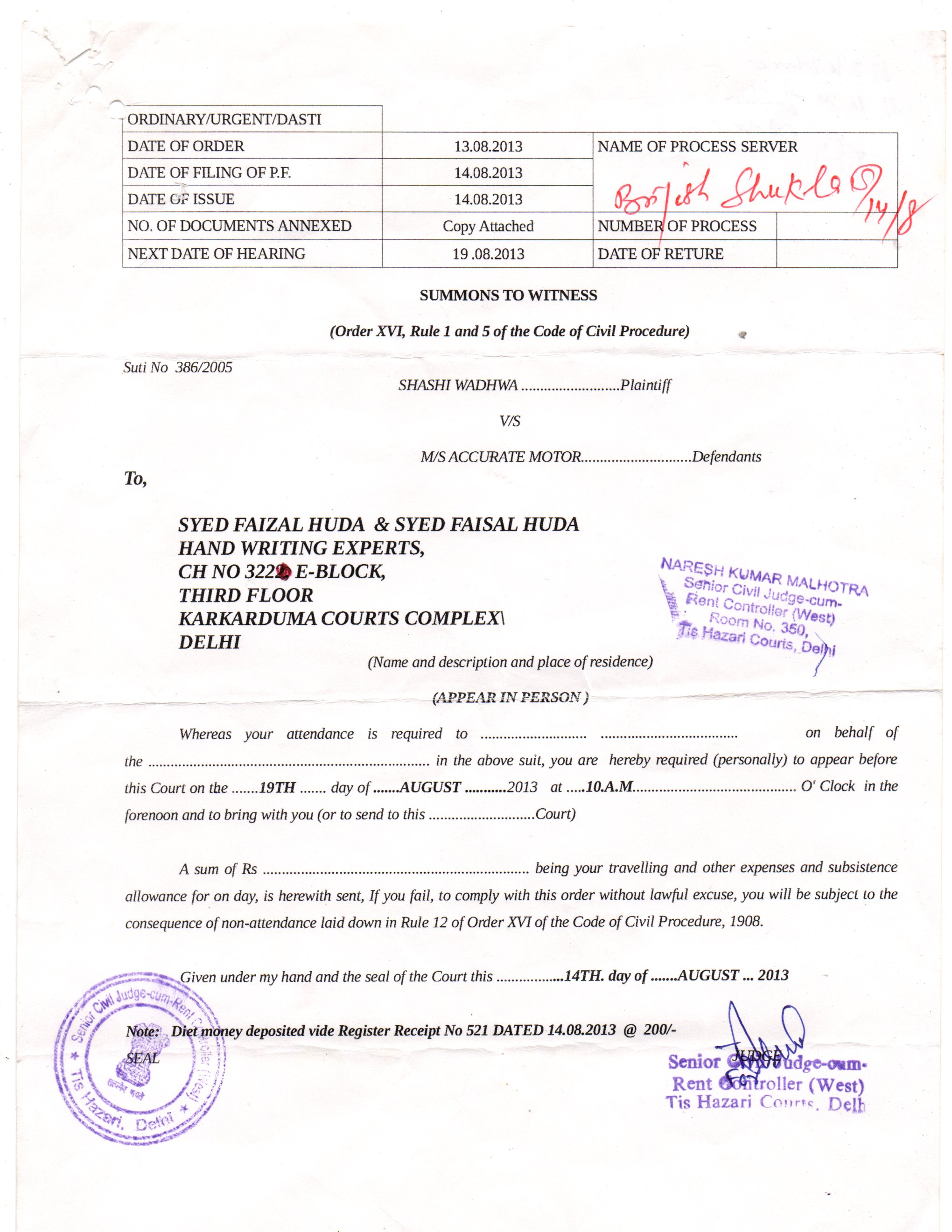 SUMMON FROM THE COURT OF SH. NARESH KUMAR MALHOTRA, TISHAZARI